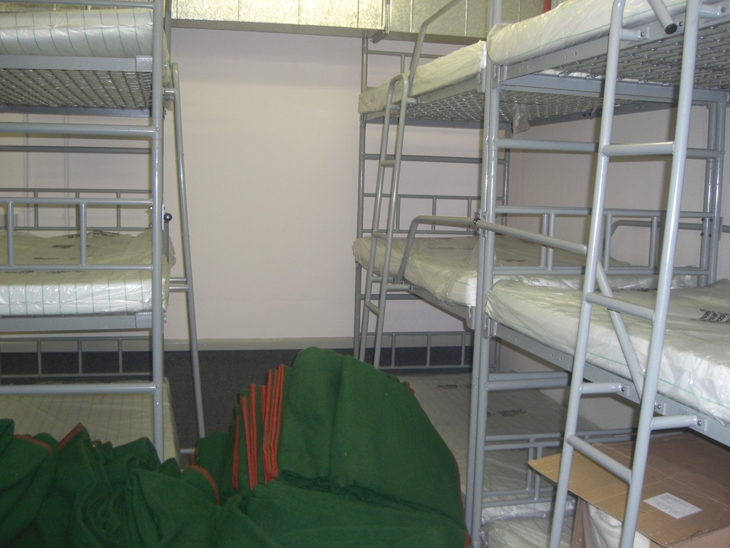 Bunk beds in the Ballymena bunker where VIPs would sleep