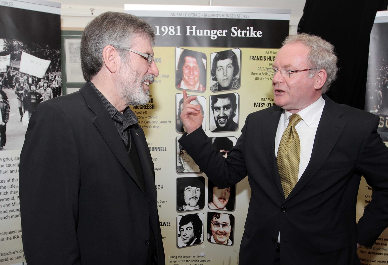 Gerry Adams and Martin McGuinness at a hunger strike exhibition