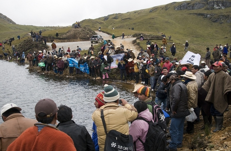 Villagers from Cajamarca protest against the exploration of their water supplies