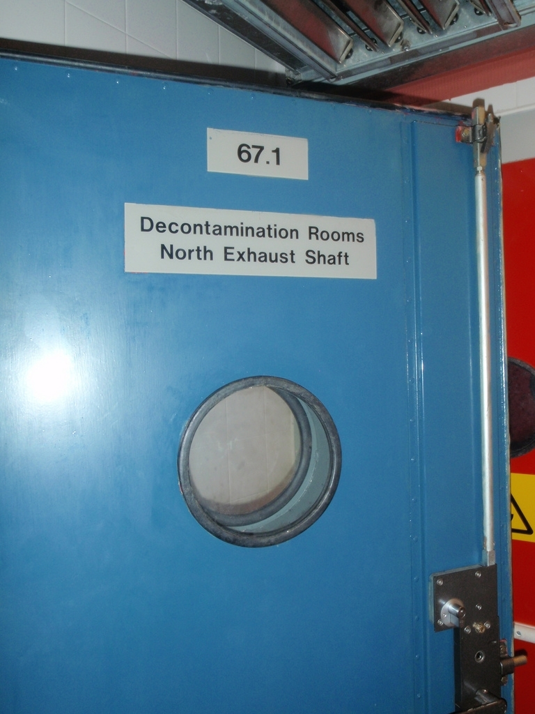 The entrance to a decontamination unit at the Ballymenna bunker
