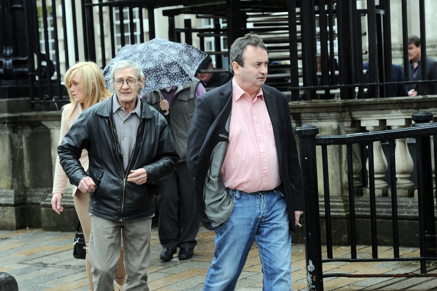 Paddy Joe Hill and Gerry Conlon leaving today's appeal hearing