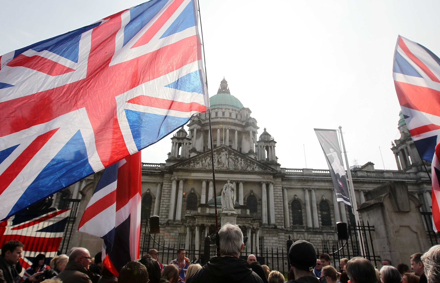 A protest at Belfast City Hall over restrictions placed on flying the Union flag.