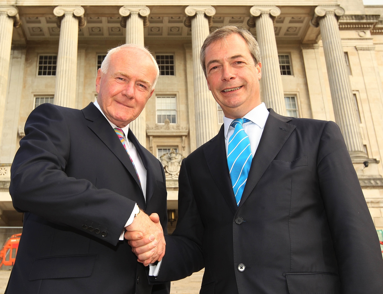 UKIP Assembly member David McNarry and his party leader Nigel Farage at Stormont.