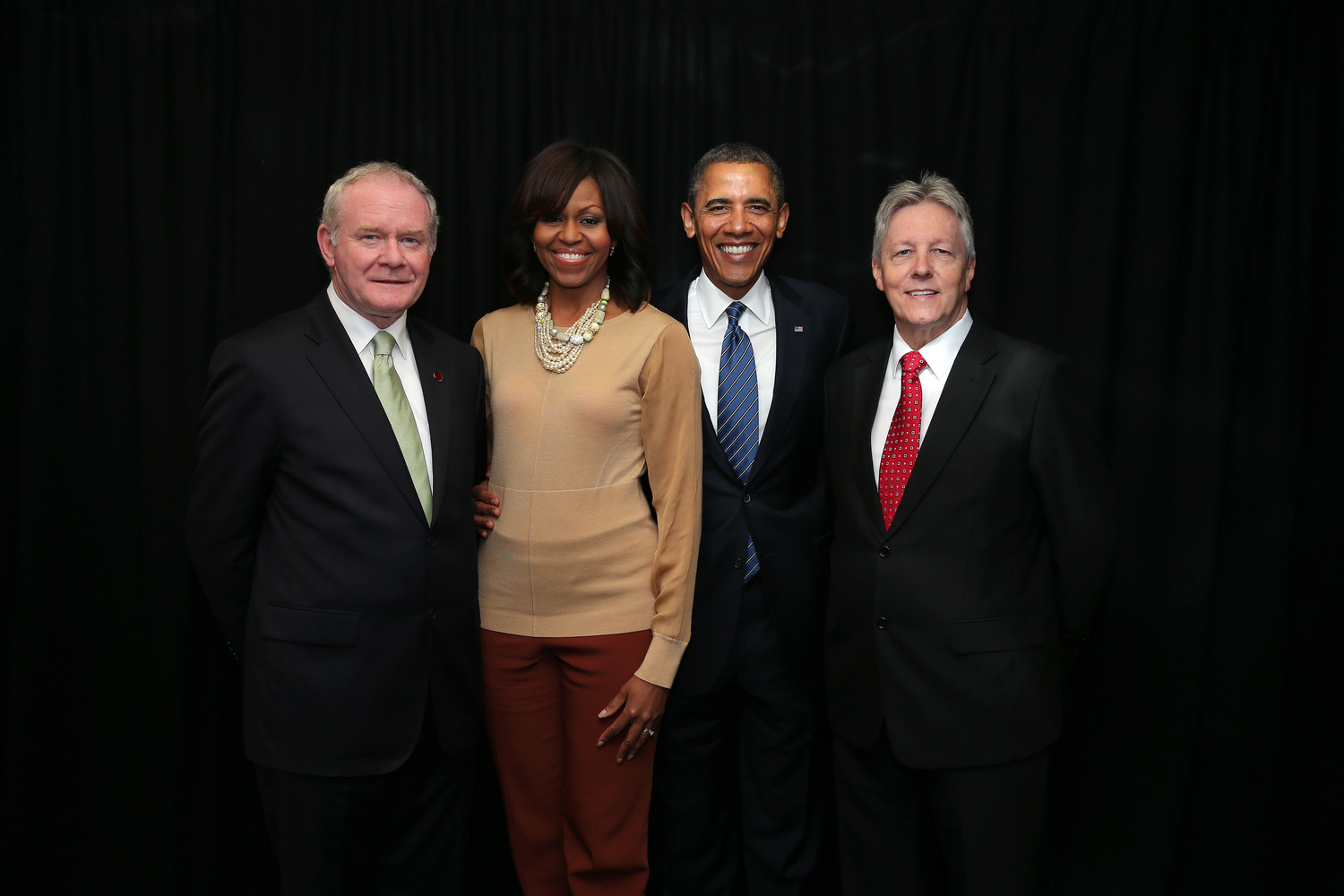 Barack and Michelle Obama meet Martin McGuinness and Peter Robinson