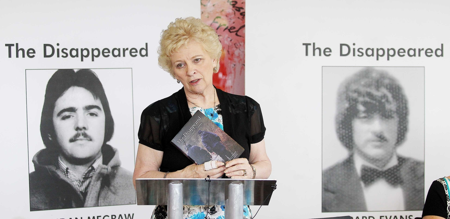 Baroness Nuala O'Loan launches a book on the `Disappeared' in Belfast's Lyric theatre.