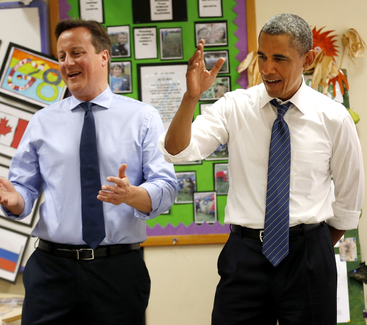 Prime Minister David Cameron and US President Barack Obama at Enniskillen integrated school