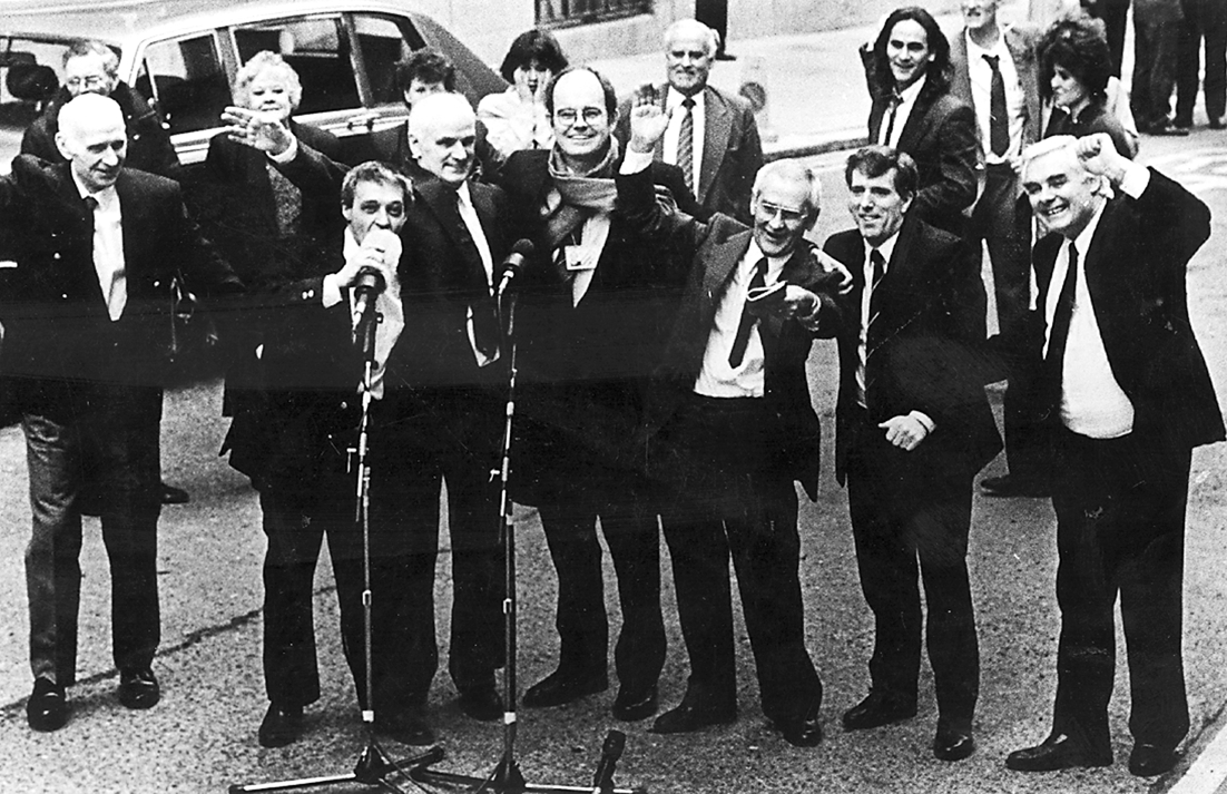 The Birmingham Six celebrate after their convictions were overturned in 1991
