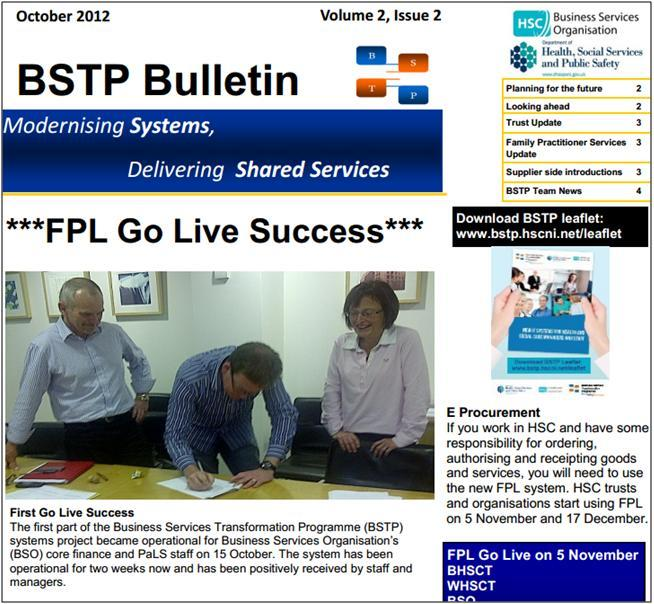 BSTP newsletter after new system launch in October 2012