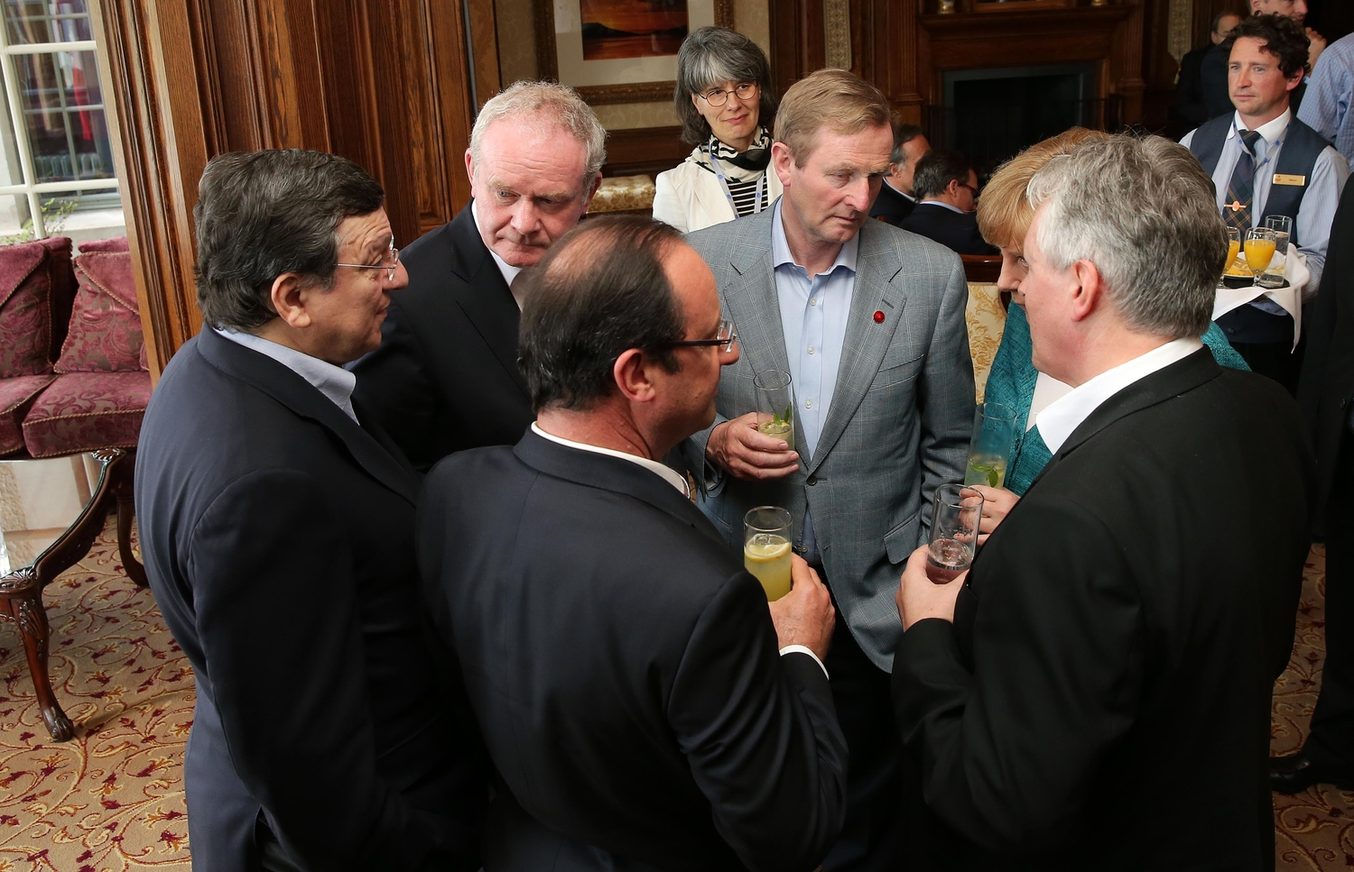 Peter Robinson, Martin McGuinness and Enda Kenny in Fermanagh last month with EC President Jose Manuel Barroso, German Chancellor Angela Merkel and French President Francois Hollande