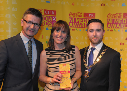 Kathryn with Joris Minne and Gary McKeown at the NI Media Awards