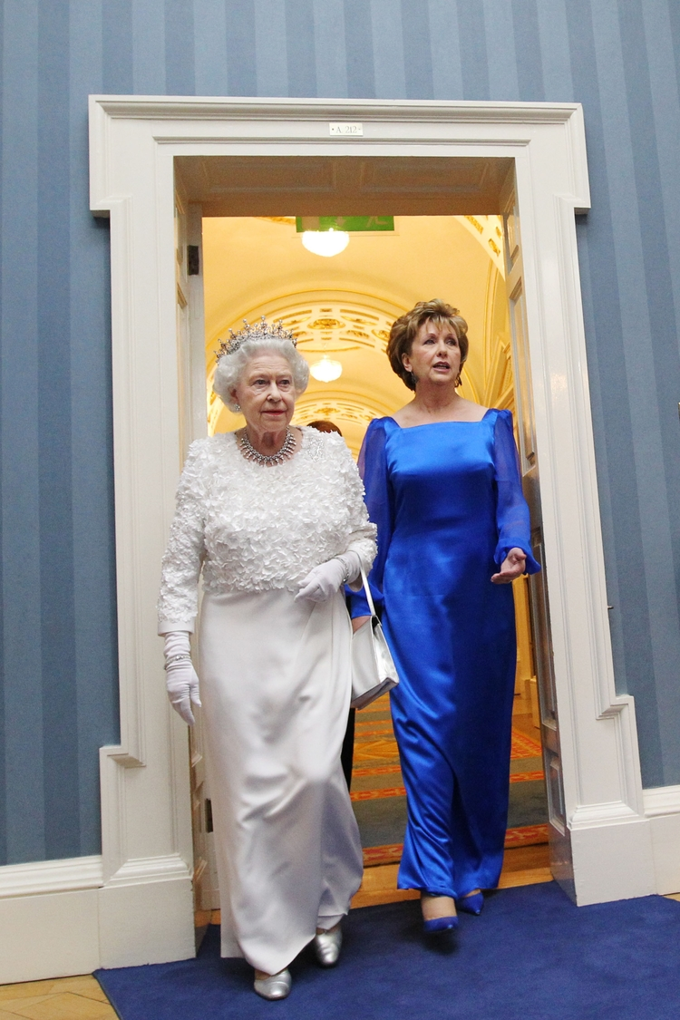 The Queen was hosted in Dublin by President Mary McAleese.