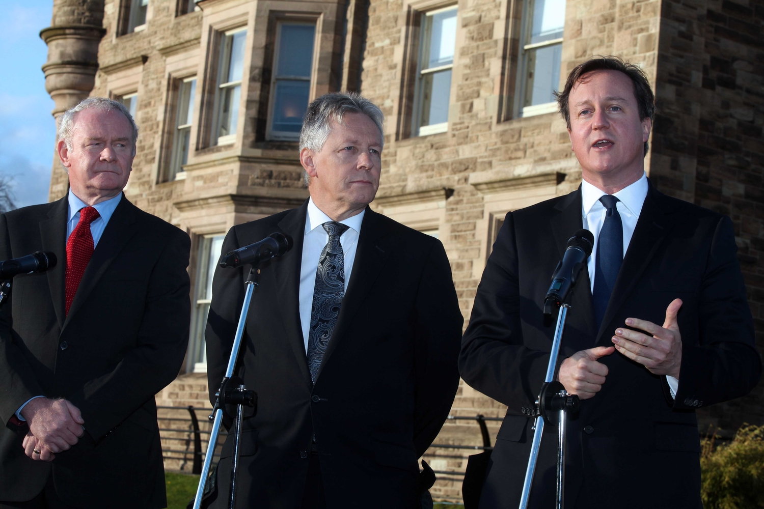 Martin McGuinness, Peter Robinson and David Cameron discuss overseas investment.