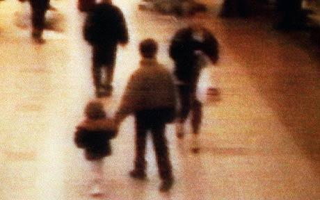 Toddler James Bulger being led to his violent death