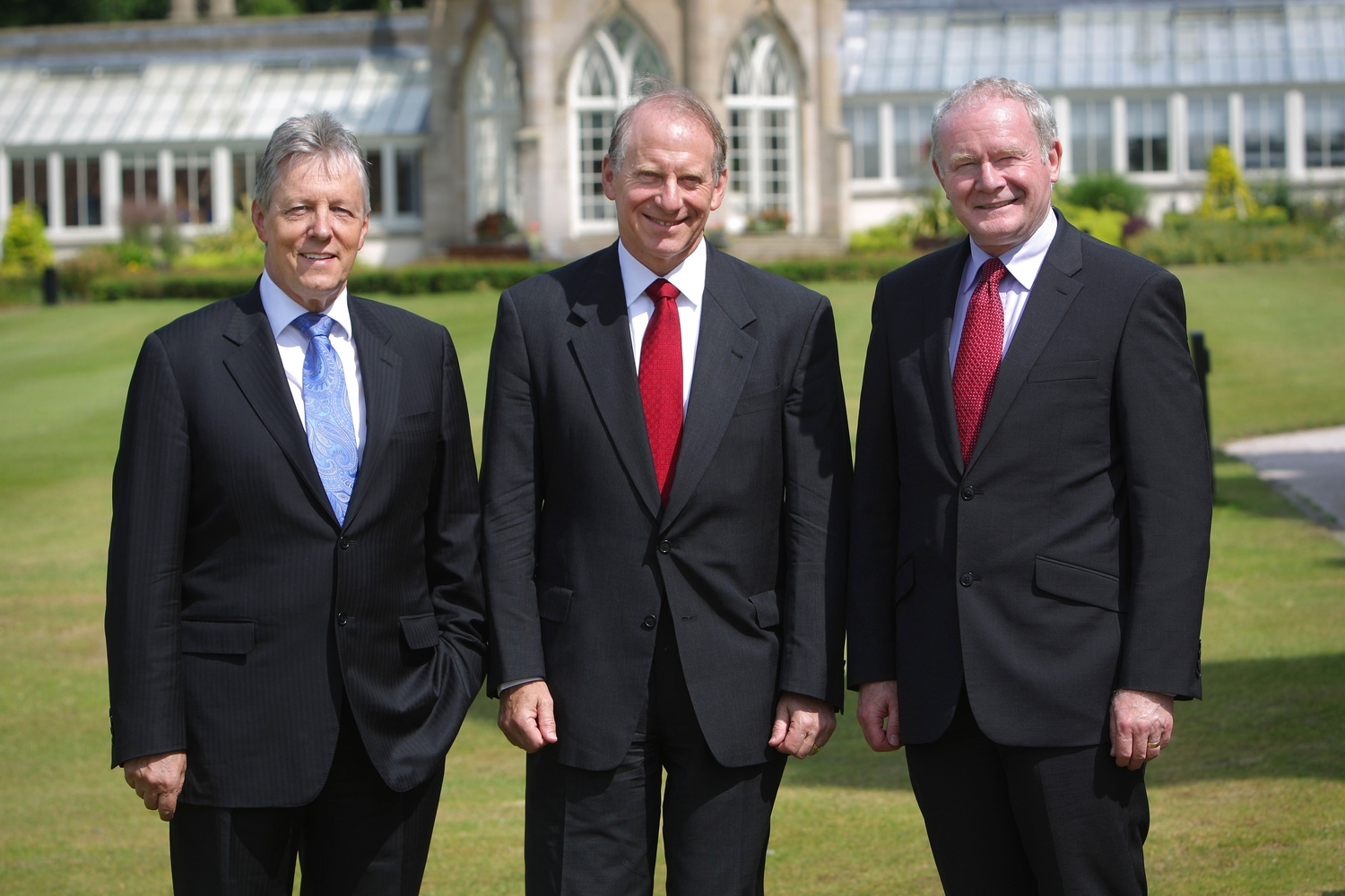 Peter Robinson, Richard Haass and Martin McGuinness at Stormont.