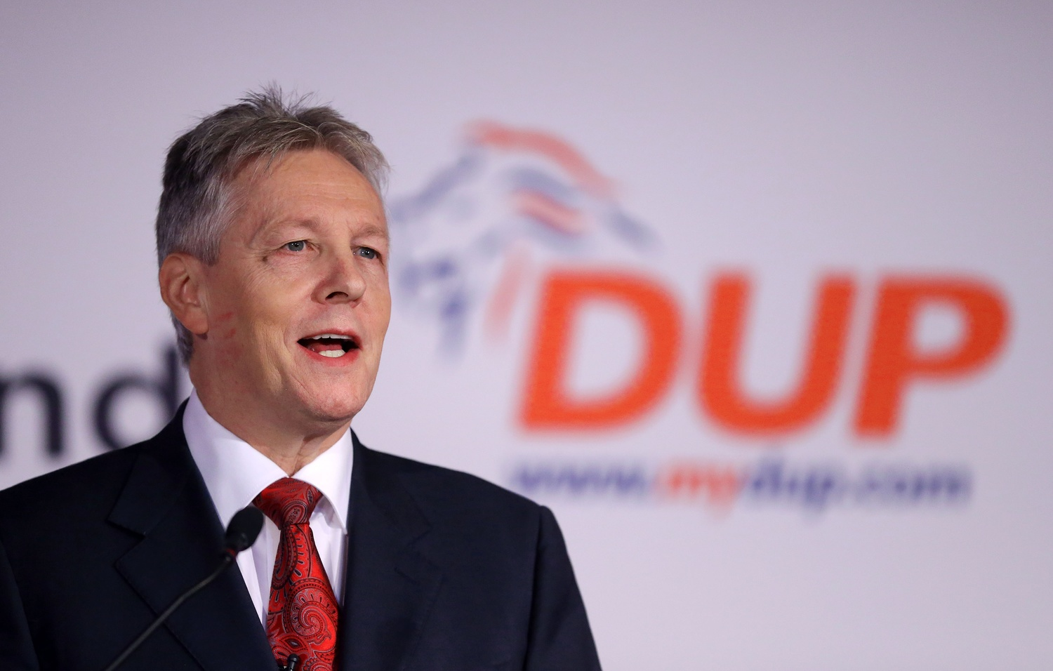 DUP leader Peter Robinson addresses his party conference