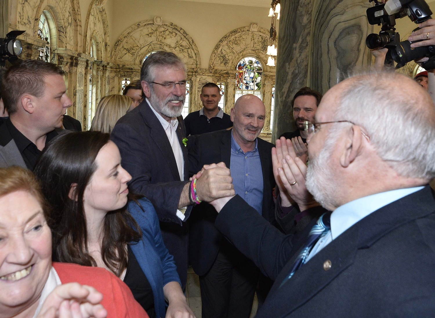 Gerry Adams arrives from Dublin at the Belfast city hall election count