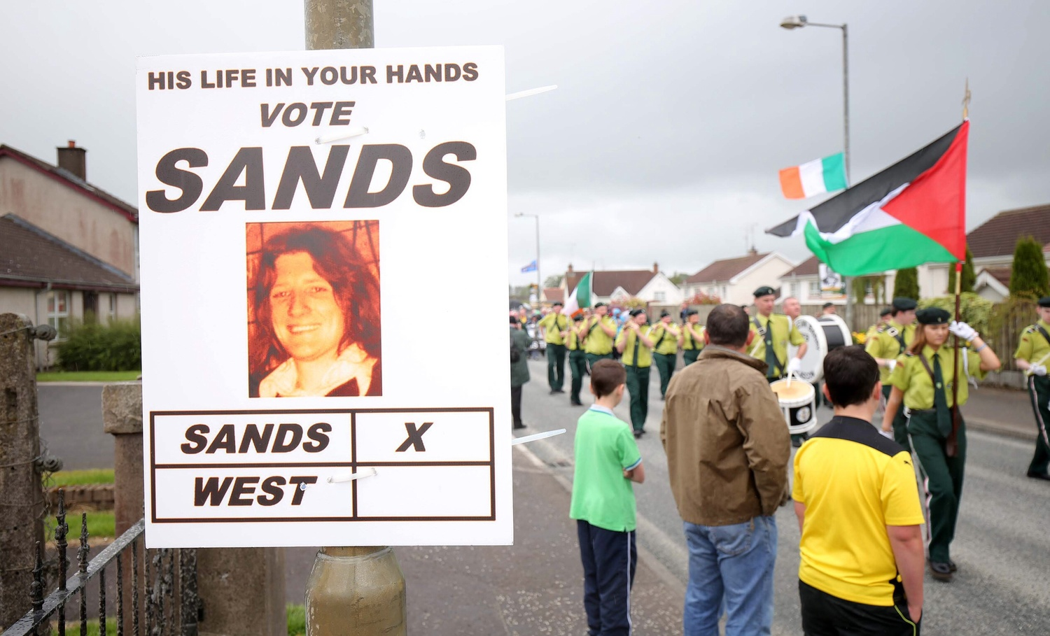 Bobby Sands election poster at August's Sinn Féin commemoration in Fermanagh.