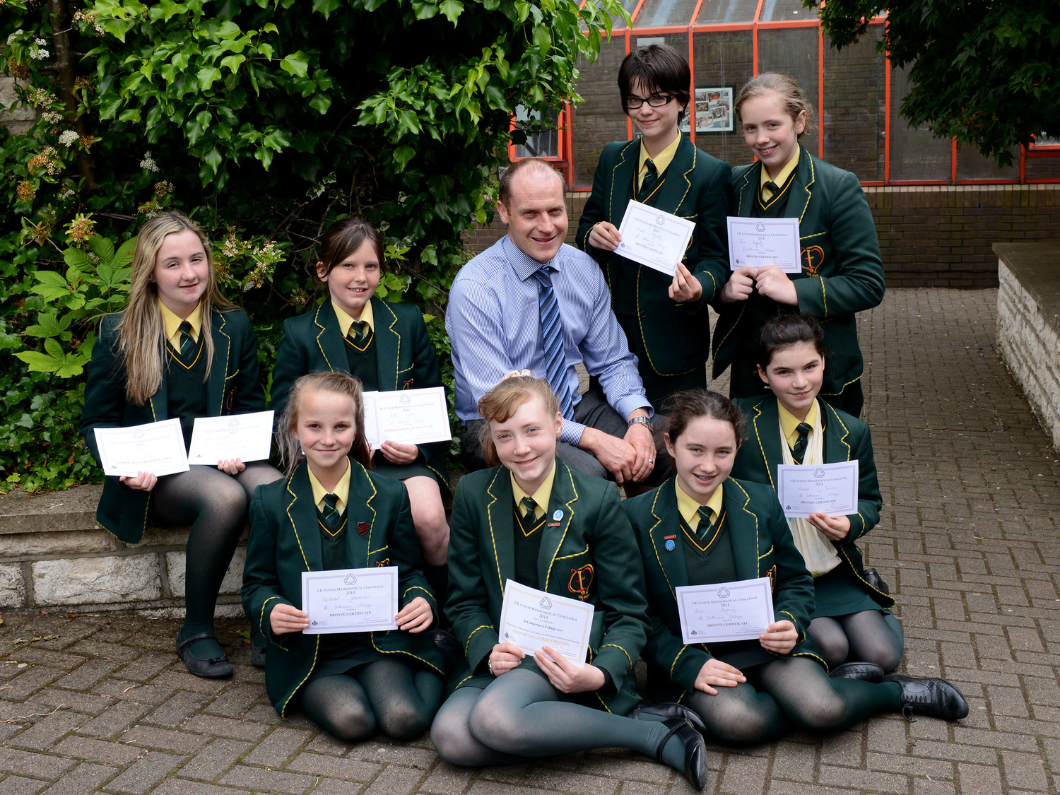 St Catherine's College students who received awards in the UK Maths Challenge 2014, pictured with Head of Maths, John O'Neill