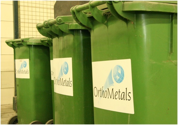 The metals are stored in specialised bins supplied by Orthometals on the crematorium site