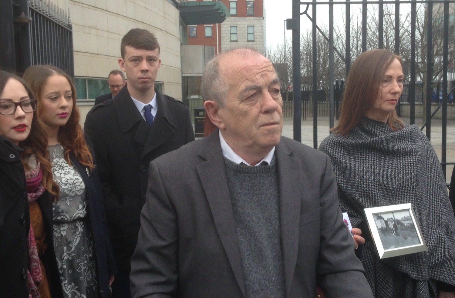 Terry Laverty, centre, who had his riot conviction overturned