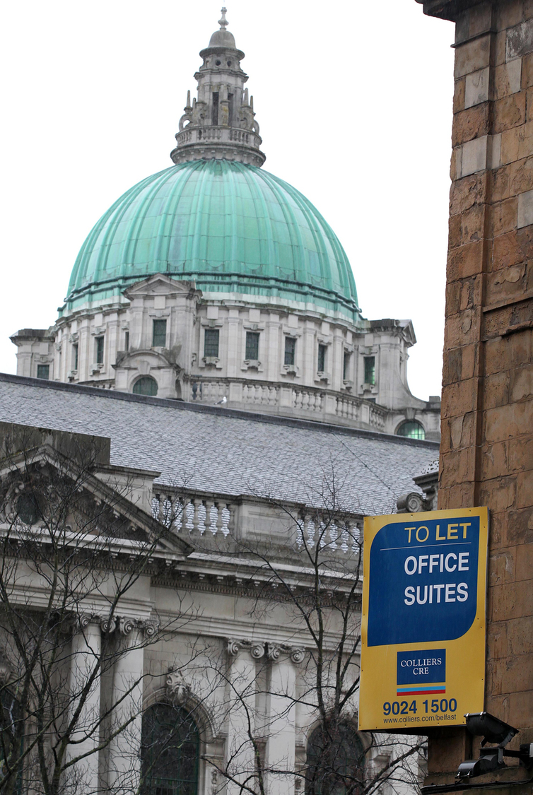 Belfast City Hall For Sale sign