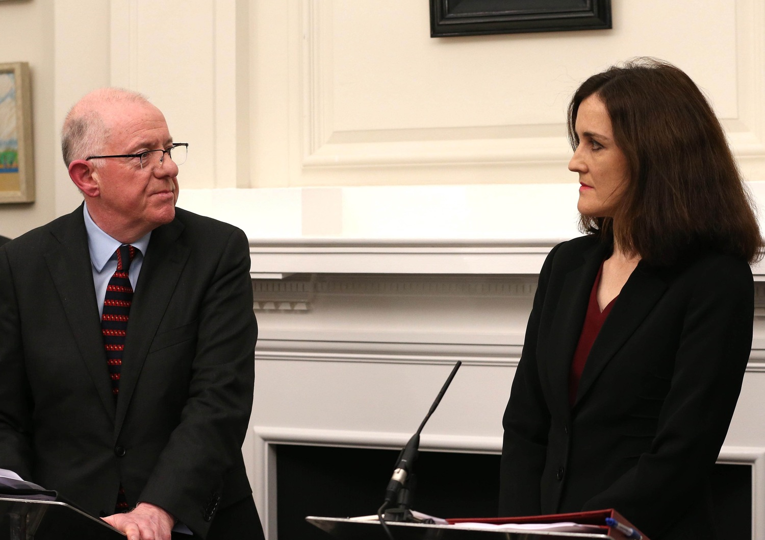 'Your move': Irish Government Foreign Affairs Minister Charlie Flanagan and UK Secretary of State Theresa Villiers