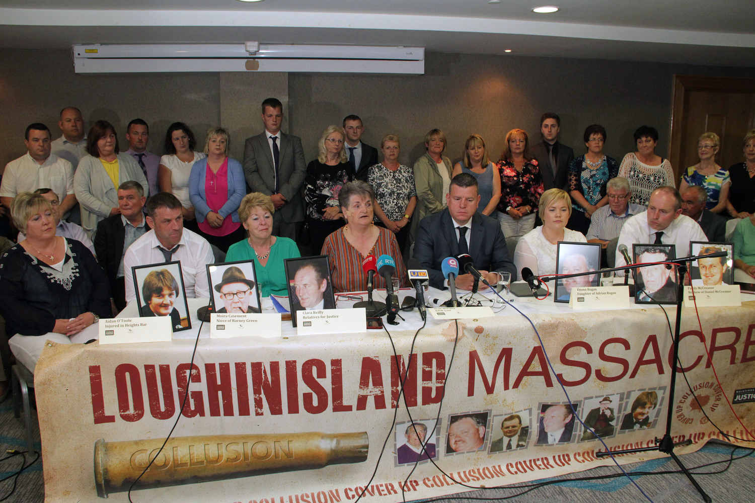 The Loughinisland families and their legal representative hold a press conference