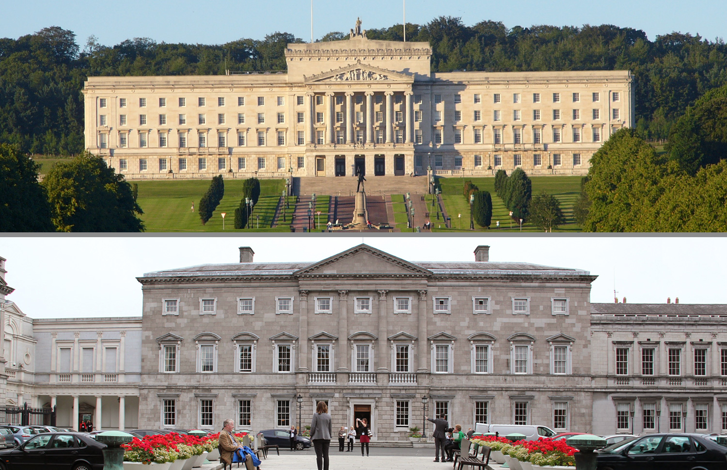 Stormont parliament in Belfast and Leinster House in Dublin