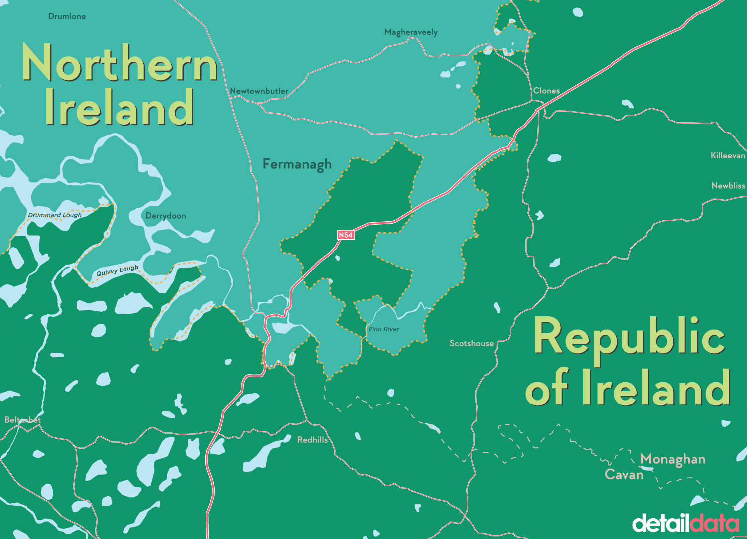 The Drummully Polyp in Co Monaghan is only accessible from Co Fermanagh. Infographic by Chris Scott