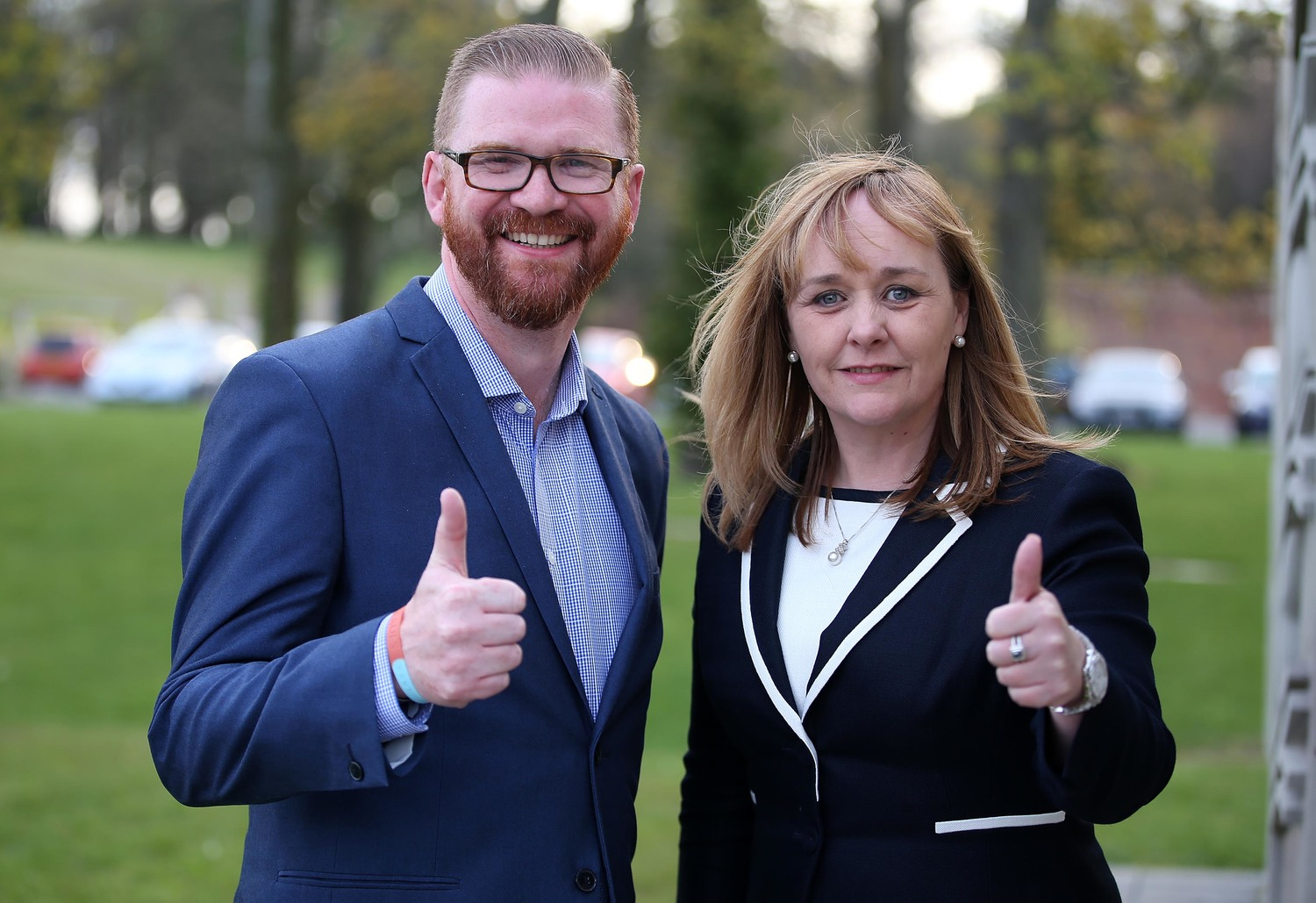 The DUP's Simon Hamilton and Michelle McIlveen pictured when they were re-elected to their Strangford constituency