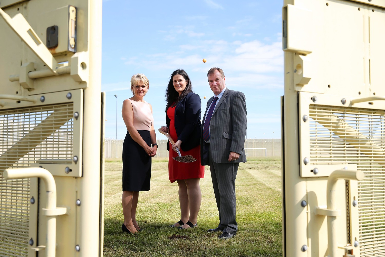 Left to right, former Director General Sue McAllister with Justice Minister Claire Sugden and Maghaberry Governor Stephen Davis.