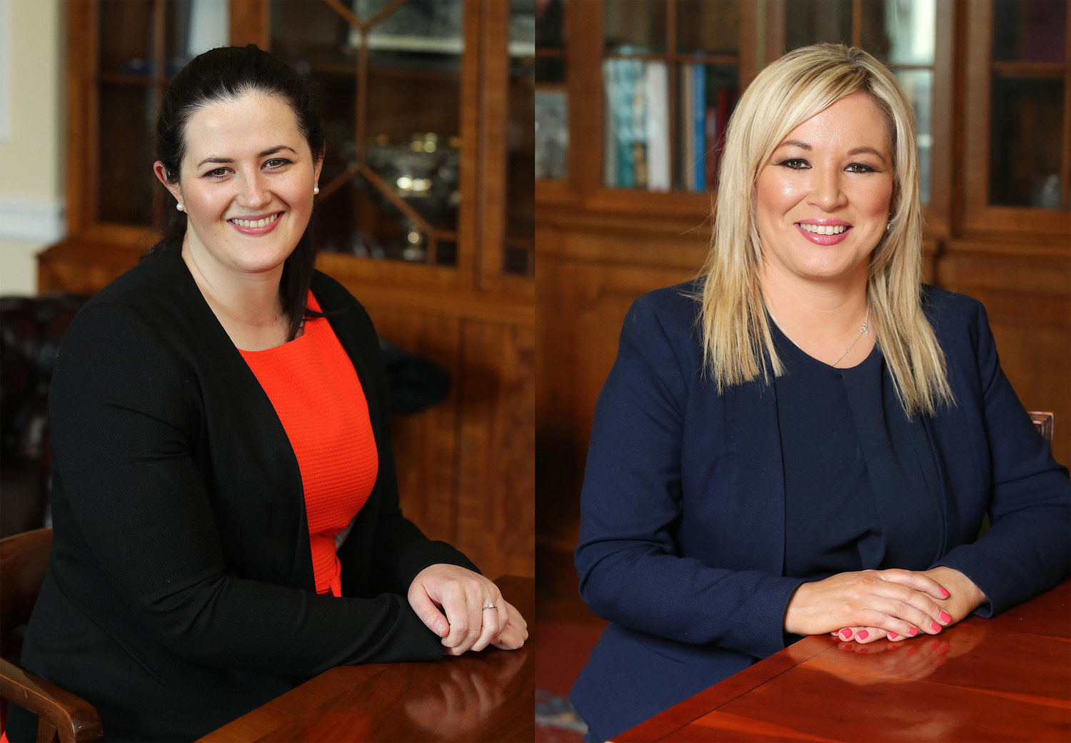 Left to right, Justice Minister Claire Sugden and Health Minister Michelle O'Neill