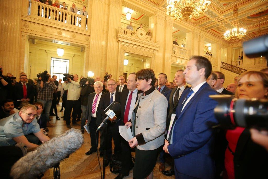 DUP leader Arlene Foster addressing the media when Stormont's collapse was confirmed