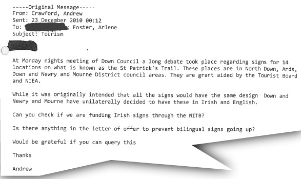 An email sent by Andrew Crawford to DUP leader Arlene Foster.