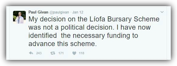 Communities Minister Paul Givan's announced the reinstatement of the bursary on Twitter.