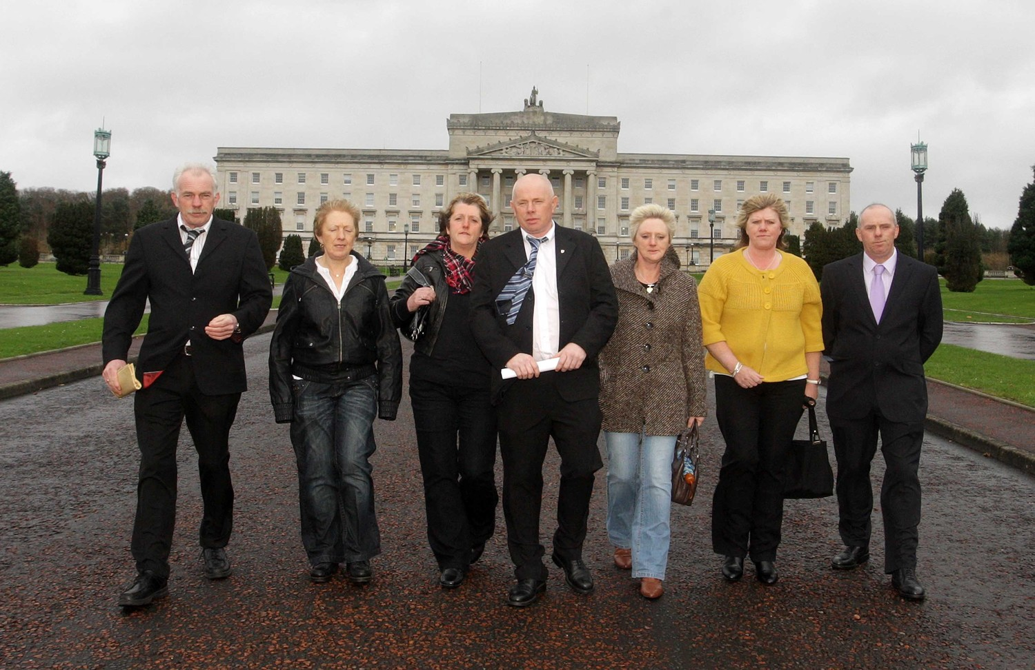 The family of Maureen McGinley pictured at Stormont in 2009 where they lobbied for a public inquiry into their mother's death