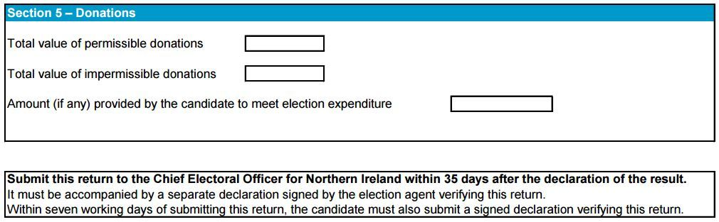 Extract from an electoral return form where candidates must outline how they raised money for their campaign