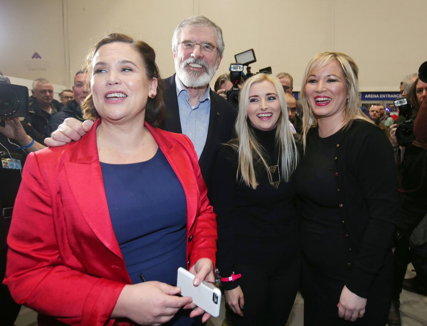 Sinn Féin President Gerry Adams, with party colleagues including deputy leader Mary Lou McDonald & Nothern leader Michelle O'Neill