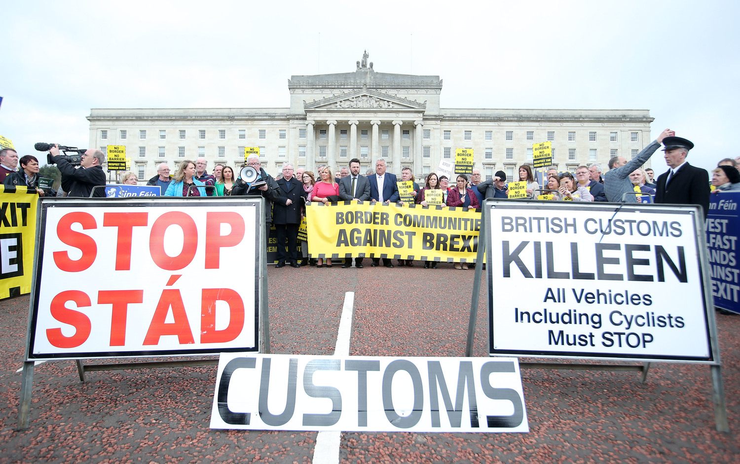 Protests against Brexit staged at the Northern Ireland parliament