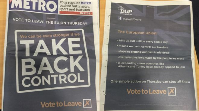 The DUP's pro-Brexit advert in the Metro featured heavily on social media when it was published/ Photo source: BBC