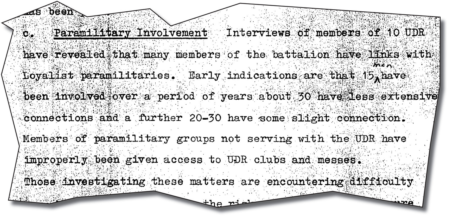 Extracts from the top secret MoD investigation into UDR links with the UVF