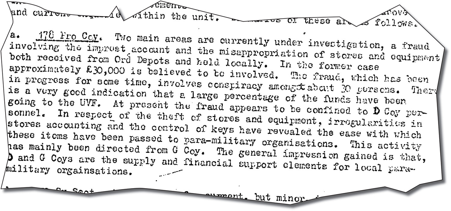 Secret documents reveal UDR units are supply and financial support for UVF