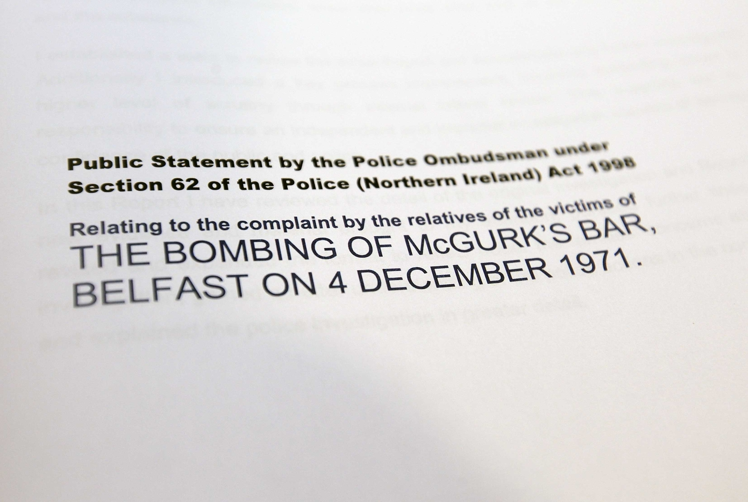 The ombudsman's McGurk's Bar report who's findings were altered on two occasions