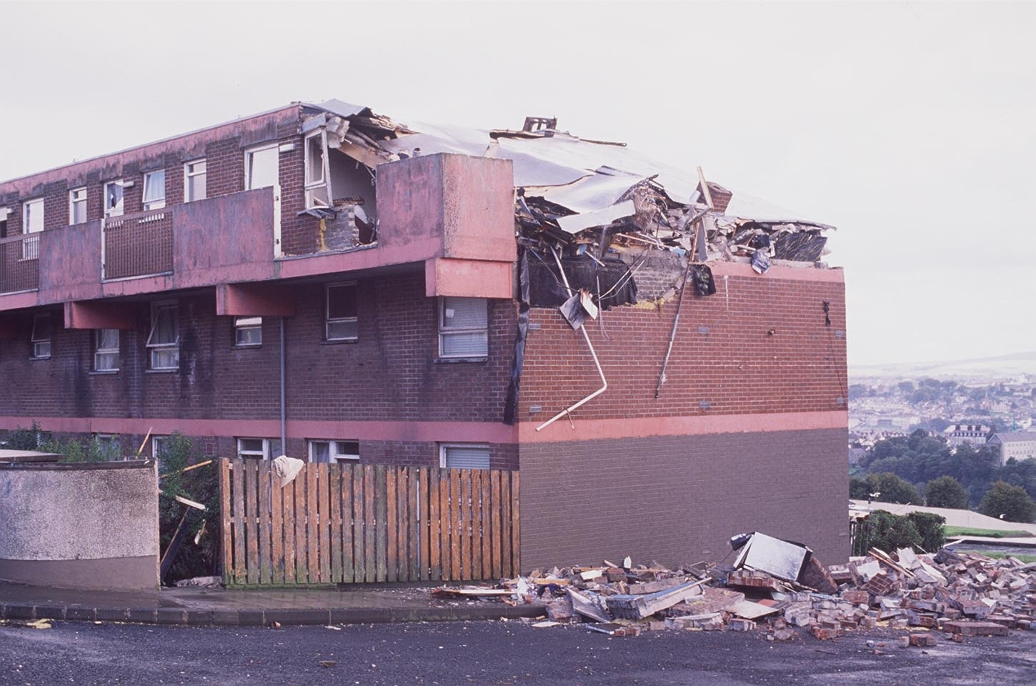 The aftermath of the Good Neighbours bomb in Derry in August 1988