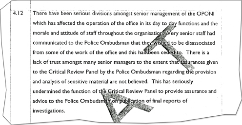 extracts from the CJI report reveal staff do not believe ombudsman's reassurances