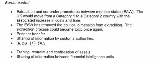 The DOJ response paper highlighting concerns in the days following the June 2016 Brexit vote.