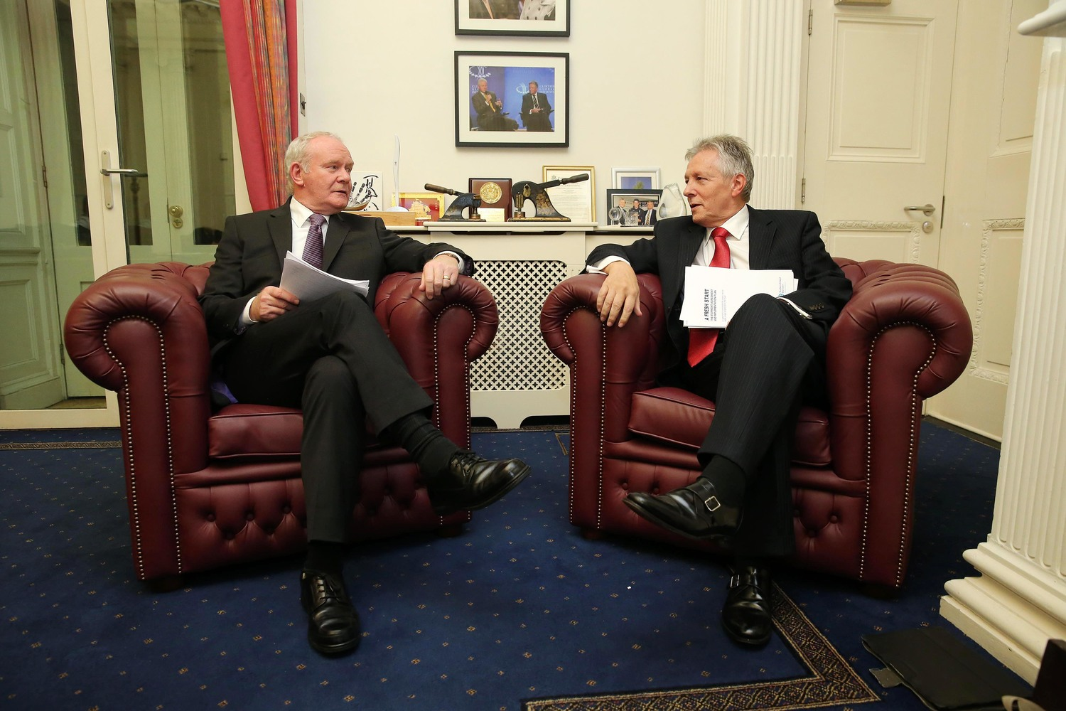 Martin McGuinness and Peter Robinson when they shared Stormont's top office.