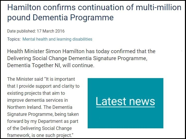 Screen grab of last year's Department of Health press release about Dementia Together NI.