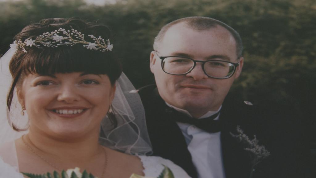 Janine and Stephen on their wedding day