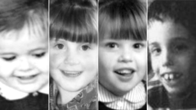 (Left to right) Adam Strain, Raychel Ferguson, Claire Roberts and Conor Mitchell. Lucy Crawford's family have not released a photo to the media.